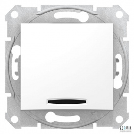 Выключатель одноклавишный Schneider Sedna белый с подсветкой проходной