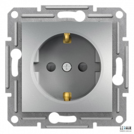 Розетка одномісна Schneider Asfora алюмінієва з заземленням