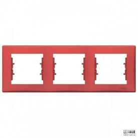 Рамка чотиримісна горизонтальна Schneider Sedna червона