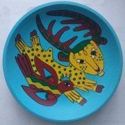 Декоративна тарілка з мотивів Приймаченко М. 20 см blue