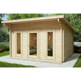 Беседка деревянная из профилированного бруса с закрытой комнатой 4х4 Кременчуг