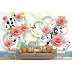 Фотообои 3Д розы с кольцами