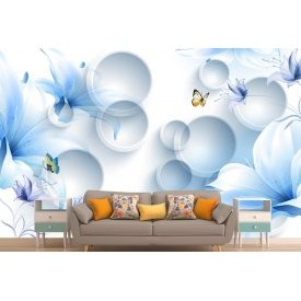 Фотообои 3Д цветы бабочки кольца в голубых тонах