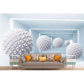 Фотообои 3Д шары с шипами голубой тоннель