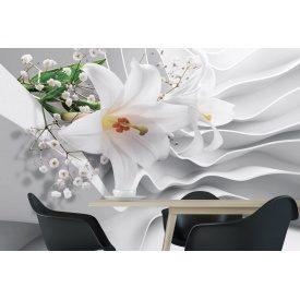Фотообои 3Д белоснежная лилия на сером фоне