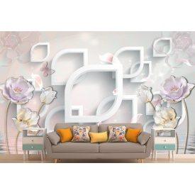 Фотообои 3Д цветы на стене