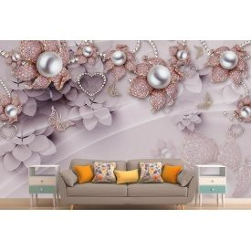 Фотообои 3Д цветы брошки стразы жемчуг