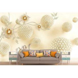 Фотообои 3Д цветы стразы сферы