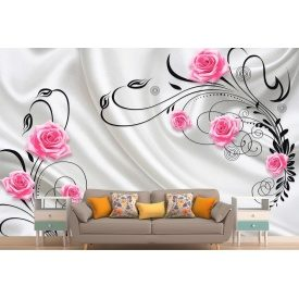Фотообои 3Д яркие розы на серебристом шелке