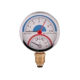 SD Термоманометр нижнього підключення 1/2 Ø80 мм 120ºC 6 бар SD1726B