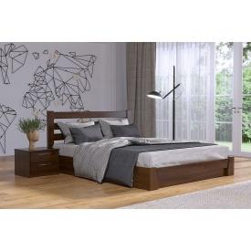 Деревянная кровать Селена с технологией щит из бука 140x200 с 4 см между ламелями тёмный орех (101)