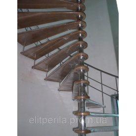 Гвинтова драбина зі східцями з нержавіючої сталі