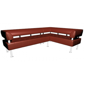 Кутовий офісний диван Тонус Sentenzo 2200х1600х700 мм з підлокітниками коричневий
