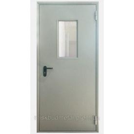 Противопожарная дверь со стеклом 2100х800 мм Міськбудметал ДМП 21-8 EI60 C