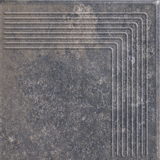 Ступінь кутова клінкерна Paradyz Viano antracite struktura 30x30 см
