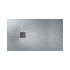 TERRAN піддон 120x80 см ультраплоскій з штучного каменю Stonex в комплекті з трапом і сифоном цемент