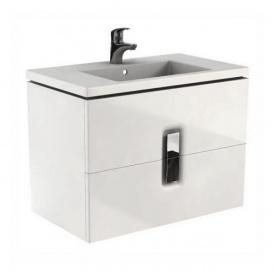 шкафчик под умывальник TWINS 80 см с двумя ящиками белый глянец