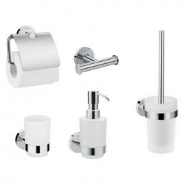 LOGIS набор аксессуаров крючок двойной диспенсер держатель туалетной бумаги стакан туалетная щётка (41725000+41714000+41723000+41718000+41722000)