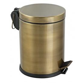 Комплект ведро для мусора с педалью 5 л + ершик для унитаза антик
