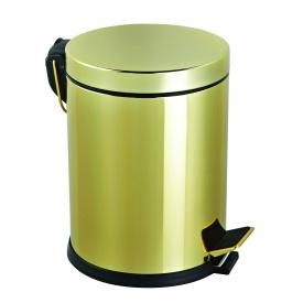 Комплект відро для сміття з педаллю 5 л + йоршик для унітазу золото