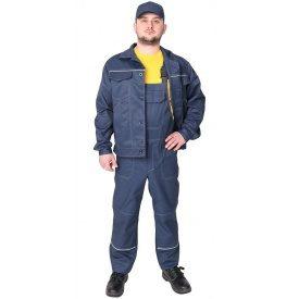 Спецодежда рабочий костюм куртка с полукомбинезоном Строитель грета ЧШК темно-синий