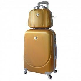 Комплект валіза + кейс Bonro Smile (середній) золотий