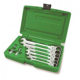 Набор ключей трещоточных комбинированных с шарниром TOPTUL 8-19 мм + переходники GAAI 1003