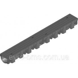 Универсальная система линейного поверхностного водоотвода-лоток 119х89х1000 PE-PP черный