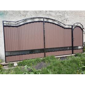 Ворота ковані з профнастилом Код: L-0109