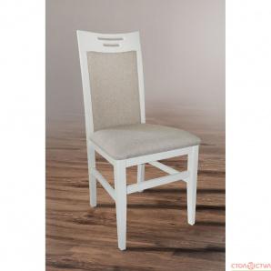 Обідній стілець з масиву дерва Юля АВАНГАРД білий ваніль