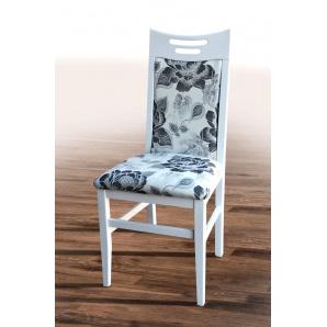Білий обідній стілець з масиву дерва Юля білий беж. малюнок