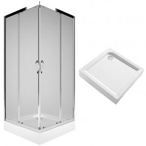 REKORD душова кабіна 90см квадратна блeckFIRST піддон квадратний 90х90см з інтегр панеллю KOLO Польща PKDK90222003+XBK1690000