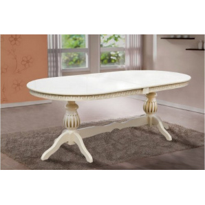 Обідній розсувний стіл з масиву дерева Статус слонова кістка патина 2000/500х1000