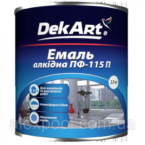 DekArt Емаль алкідна ПФ-115П Світло-сірий 2,8 кг для фарбування дерев'яних поверхонь