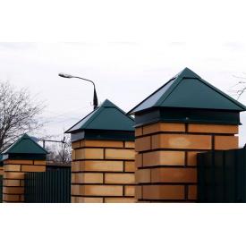 Колпак из крашенного металла на забор и фасад 380x380