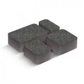 Тротуарна плитка Старе місто 4 см чорна на сірому цементі