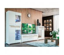 гостиная Мир мебели №1 Бьянко 3100х1850х400 ммбелый глянец/дуб сонома