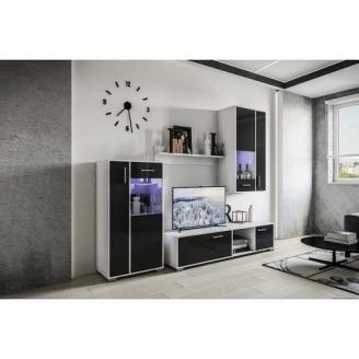 Гостиная Мир мебели Бруклин 2204х1522х422 мм белый/черный лак