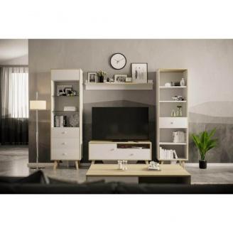 Гостиная Мир мебели Эрика 2470х1905х405 мм белый/дуб санома