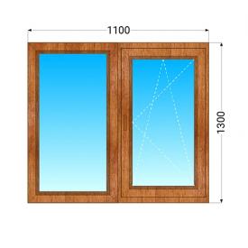 Деревянное окно из двух частей ЭКОдевелопмент Евробрус 70 дуб с двухкамерным энергосберегающим стеклопакетом 1100x1300 мм