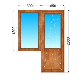Дерев'яний балконний блок ЕКОдевелопмент Євробрус 70 дуб з двокамерним енергозберігаючим склопакетом 800x1300 мм