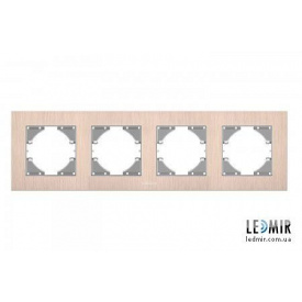 Рамка четырехместная горизонтальная Videx Binera медный алюминий