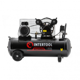 Компрессор INTERTOOL PT-0014 100 л 3 кВт 220 В 8 атм 500 л/мин 2 цилиндра