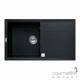 Кухонная мойка гранитная Adamant Novak 860х500х240 крыло справа 14 черный металлик