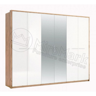 шафа 6Д з дзеркалами дуб крафт + білий глянець Нікі Міро-Марк