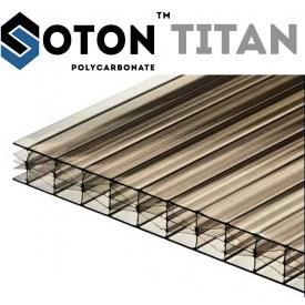 Сотовый поликарбонат ТМ SOTON TITAN 16х2100х6000 мм бронзовый