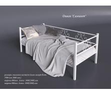Металлическая кровать-диван Самшит Тенеро 800-900х1900-2000 мм белая