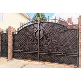 Кованые ворота закрыты с декором Б0027зк Legran