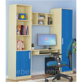 Шкаф Симба 1Д береза/синий Мебель-Сервис