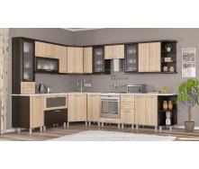 Кухня Тера плюс 2,6 м со столешницей венге темный+береза Мебель-Сервис